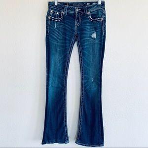 Miss Me Rhinestone Cross Distressed Jeans Sz 26
